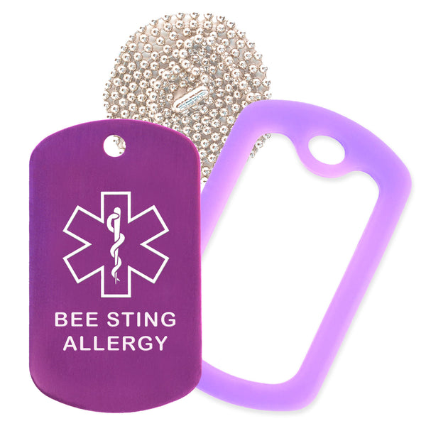 Purple Medical ID Bee Sting Allergy Necklace with Purple Rubber Silencer and 30'' Ball Chain