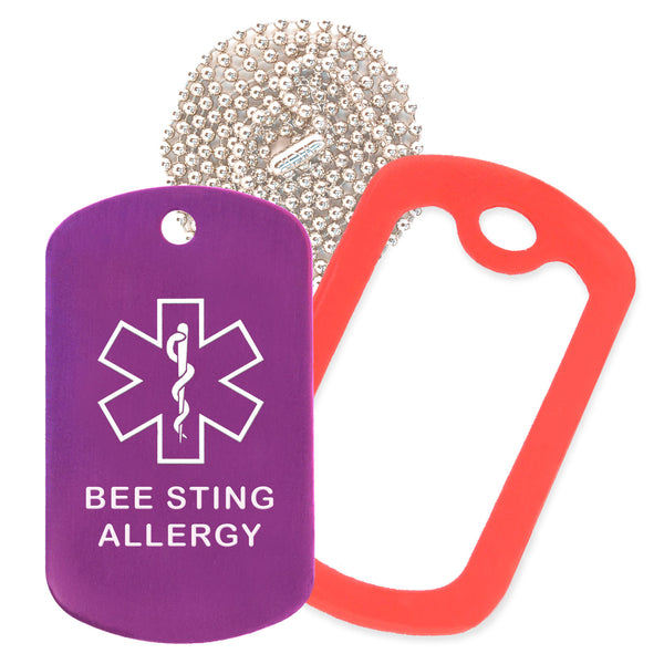 Purple Medical ID Bee Sting Allergy Necklace with Red Rubber Silencer and 30'' Ball Chain