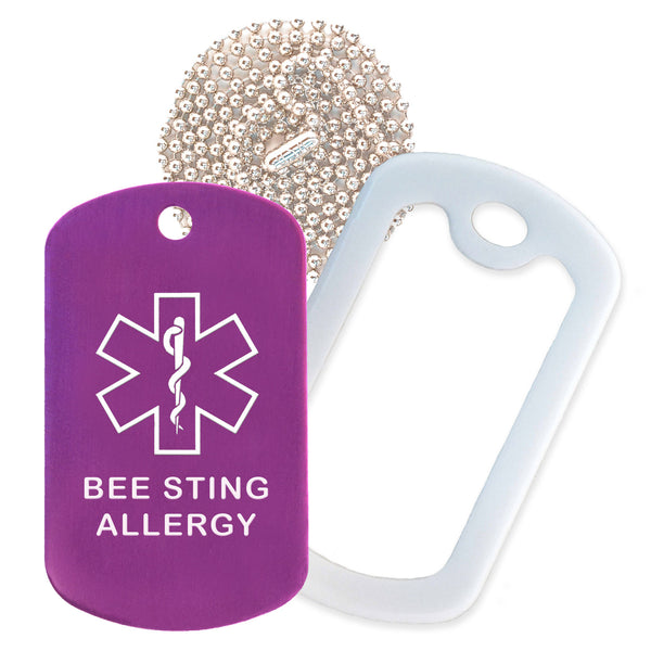 Purple Medical ID Bee Sting Allergy Necklace with White Rubber Silencer and 30'' Ball Chain
