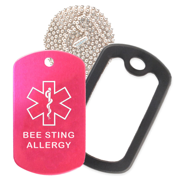 Hot Pink Medical ID Bee Sting Allergy Necklace with Black Rubber Silencer and 30'' Ball Chain