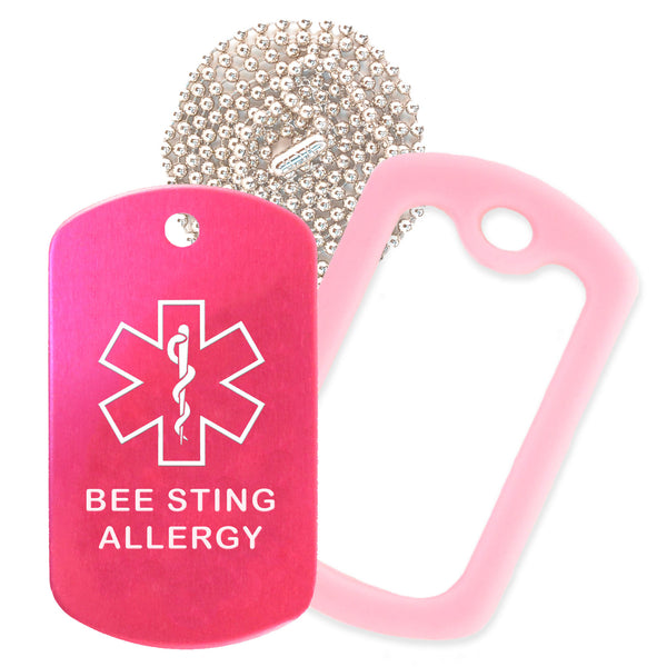 Hot Pink Medical ID Bee Sting Allergy Necklace with Pink Rubber Silencer and 30'' Ball Chain