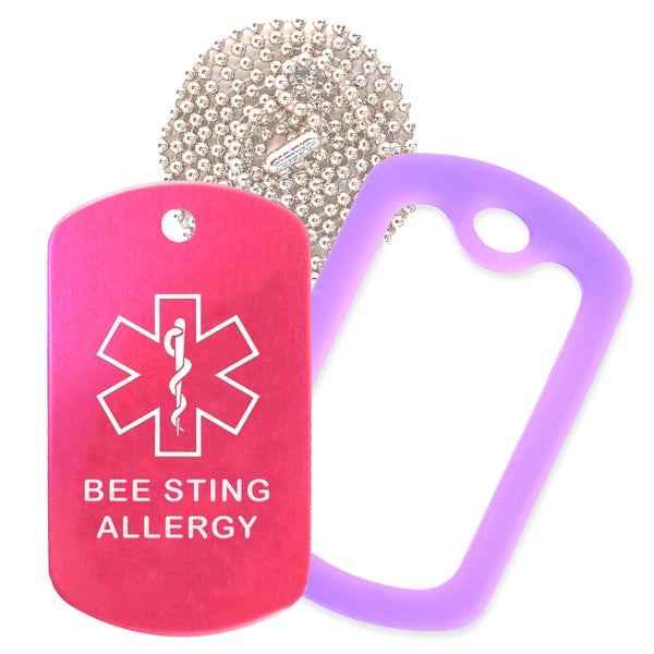 Hot Pink Medical ID Bee Sting Allergy Necklace with Purple Rubber Silencer and 30'' Ball Chain