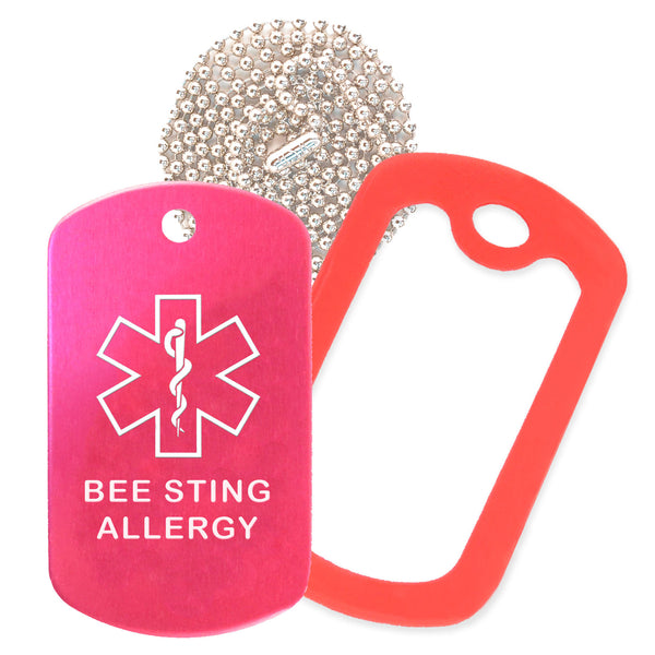 Hot Pink Medical ID Bee Sting Allergy Necklace with Red Rubber Silencer and 30'' Ball Chain