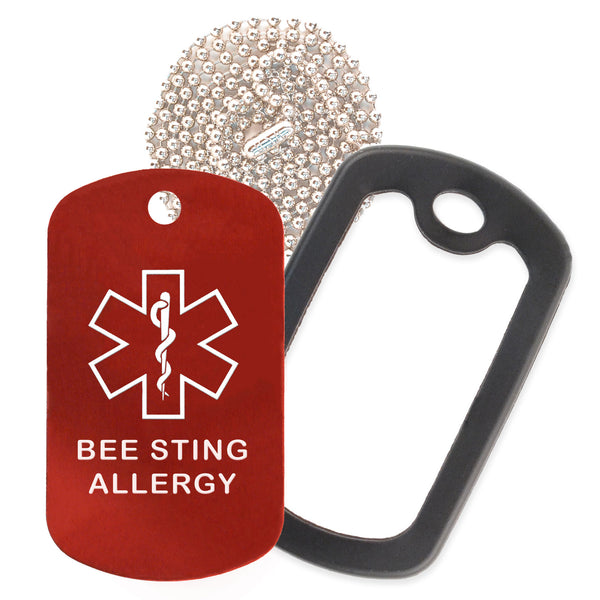 Red Medical ID Bee Sting Allergy Necklace with Black Rubber Silencer and 30'' Ball Chain