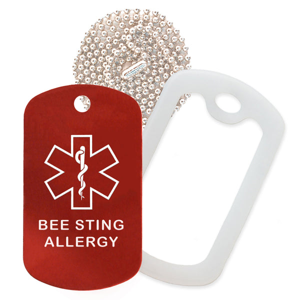 Red Medical ID Bee Sting Allergy Necklace with Clear Rubber Silencer and 30'' Ball Chain
