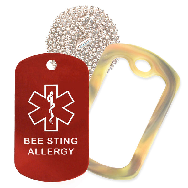 Red Medical ID Bee Sting Allergy Necklace with Forest Camo Rubber Silencer and 30'' Ball Chain