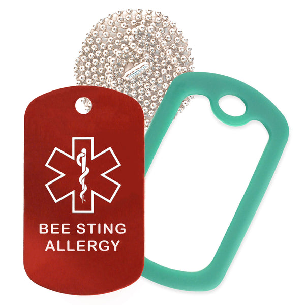 Red Medical ID Bee Sting Allergy Necklace with Green Rubber Silencer and 30'' Ball Chain