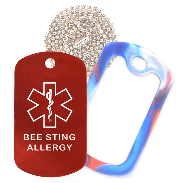 Red Medical ID Bee Sting Allergy Necklace with Red White and Blue Rubber Silencer and 30'' Ball Chain