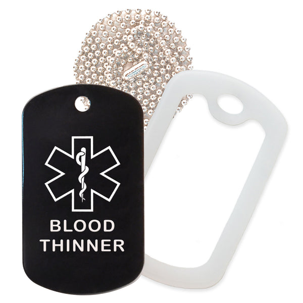 Black Medical ID Blood Thinner Necklace with Clear Rubber Silencer and 30'' Ball Chain