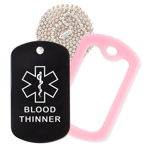 Black Medical ID Blood Thinner Necklace with Pink Rubber Silencer and 30'' Ball Chain