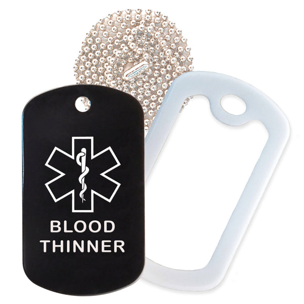 Black Medical ID Blood Thinner Necklace with White Rubber Silencer and 30'' Ball Chain