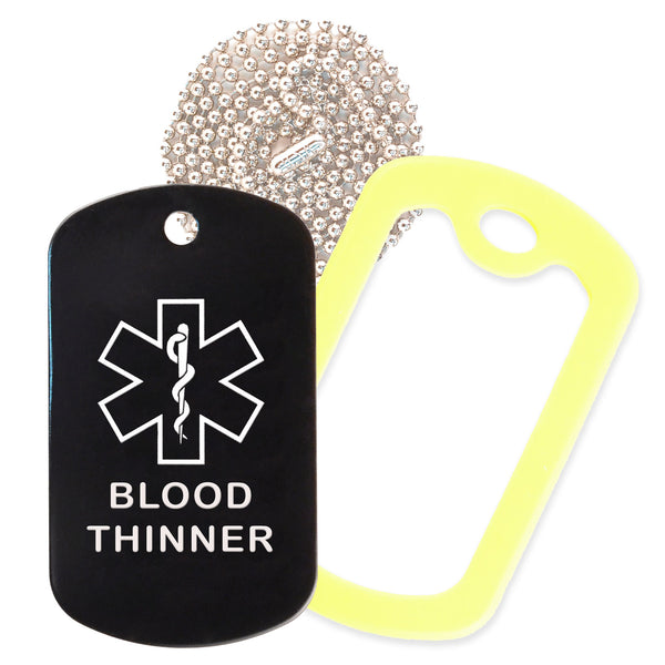 Black Medical ID Blood Thinner Necklace with Yellow Rubber Silencer and 30'' Ball Chain