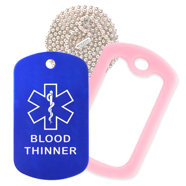 Blue Medical ID Blood Thinner Necklace with Pink Rubber Silencer and 30'' Ball Chain