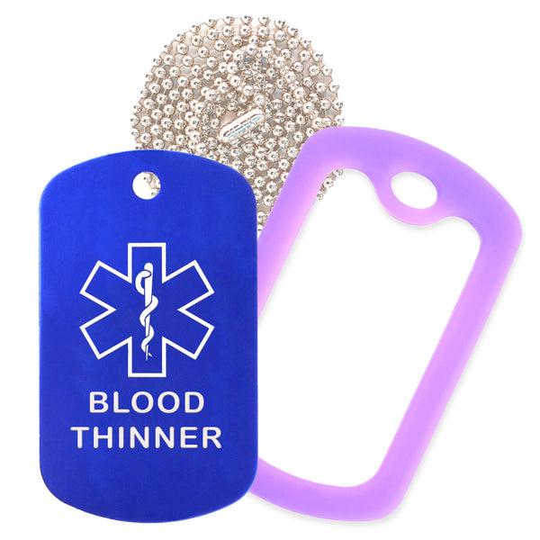 Blue Medical ID Blood Thinner Necklace with Purple Rubber Silencer and 30'' Ball Chain