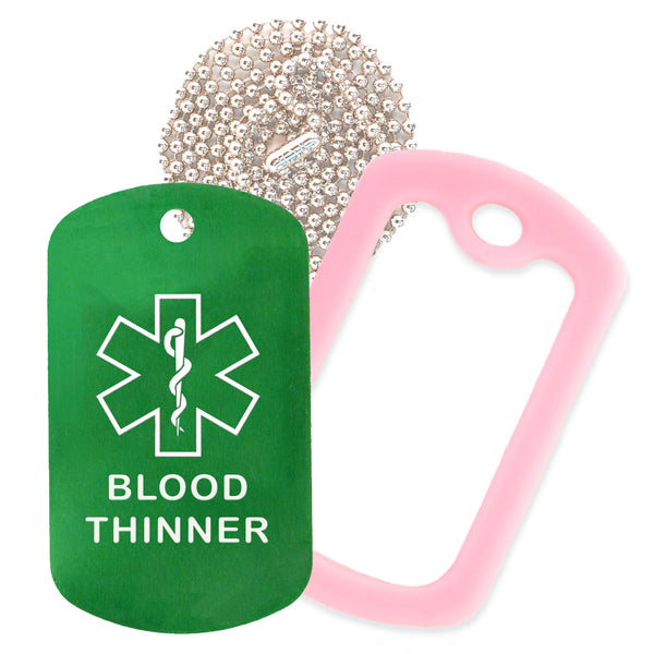 Green Medical ID Blood Thinner Necklace with Pink Rubber Silencer and 30'' Ball Chain