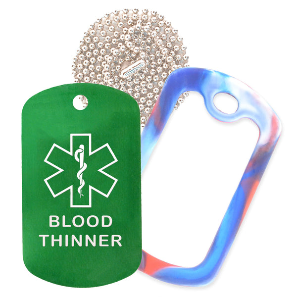Green Medical ID Blood Thinner Necklace with Red White and Blue Rubber Silencer and 30'' Ball Chain