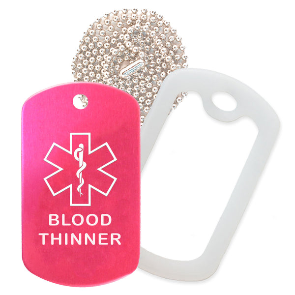Hot Pink Medical ID Blood Thinner Necklace with Clear Rubber Silencer and 30'' Ball Chain