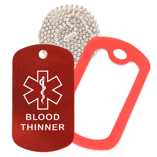 Red Medical ID Blood Thinner Necklace with Red Rubber Silencer and 30'' Ball Chain