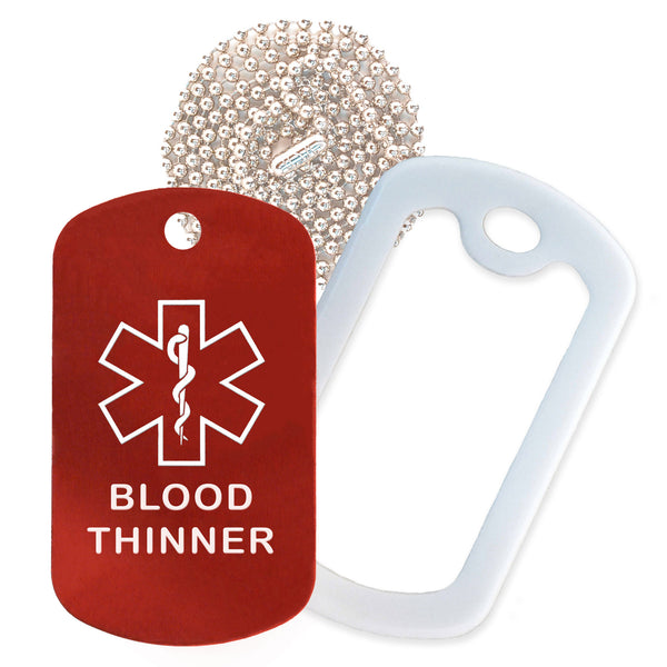 Red Medical ID Blood Thinner Necklace with White Rubber Silencer and 30'' Ball Chain
