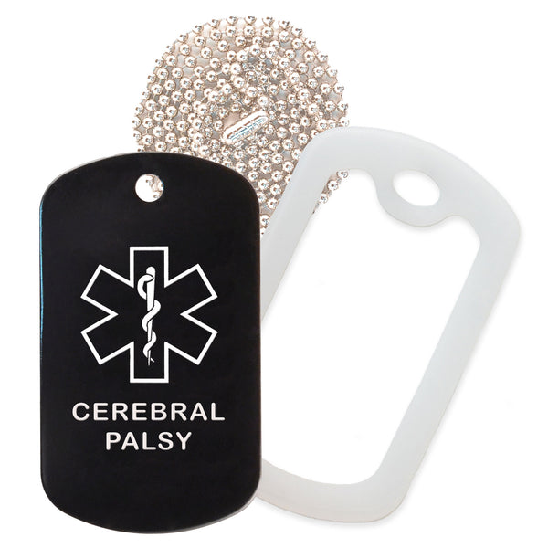 Black Medical ID Cerebral Palsy Necklace with Clear Rubber Silencer and 30'' Ball Chain