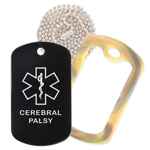 Black Medical ID Cerebral Palsy Necklace with Forest Camo Rubber Silencer and 30'' Ball Chain