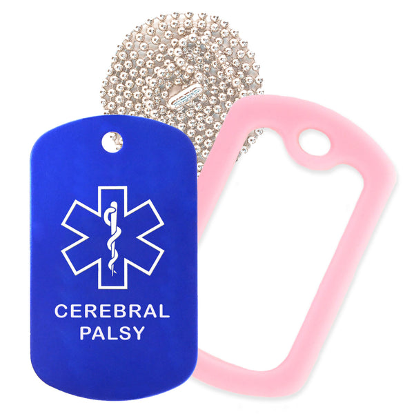 Blue Medical ID Cerebral Palsy Necklace with Pink Rubber Silencer and 30'' Ball Chain