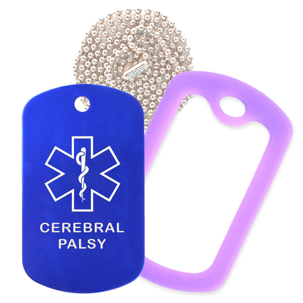 Blue Medical ID Cerebral Palsy Necklace with Purple Rubber Silencer and 30'' Ball Chain