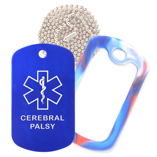 Blue Medical ID Cerebral Palsy Necklace with Red White and Blue Rubber Silencer and 30'' Ball Chain