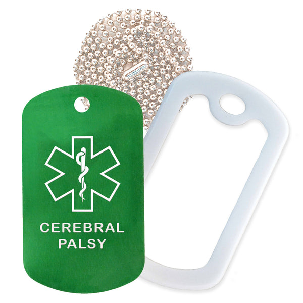Green Medical ID Cerebral Palsy Necklace with White Rubber Silencer and 30'' Ball Chain