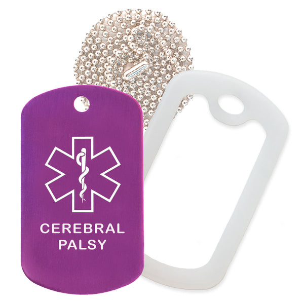 Purple Medical ID Cerebral Palsy Necklace with Clear Rubber Silencer and 30'' Ball Chain