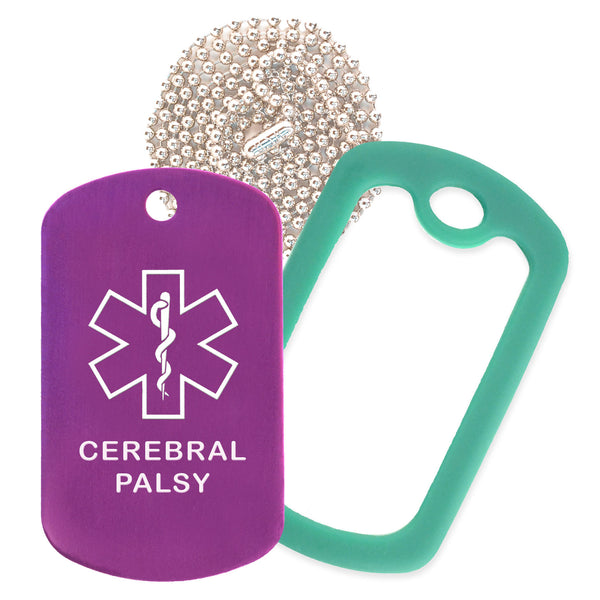 Purple Medical ID Cerebral Palsy Necklace with Green Rubber Silencer and 30'' Ball Chain
