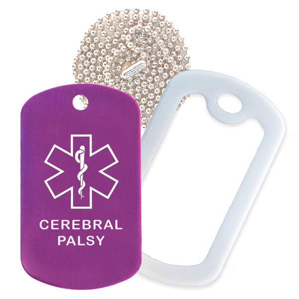 Purple Medical ID Cerebral Palsy Necklace with White Rubber Silencer and 30'' Ball Chain