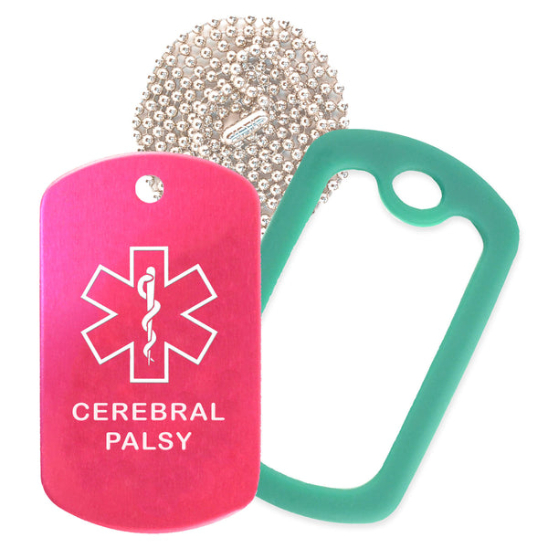 Hot Pink Medical ID Cerebral Palsy Necklace with Green Rubber Silencer and 30'' Ball Chain