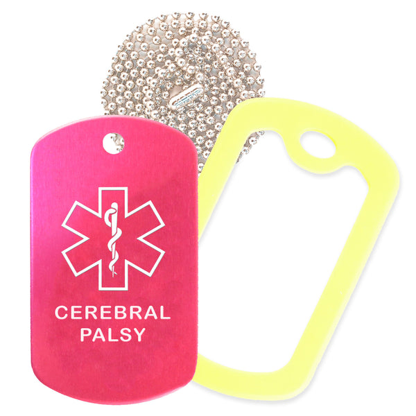 Hot Pink Medical ID Cerebral Palsy Necklace with Yellow Rubber Silencer and 30'' Ball Chain