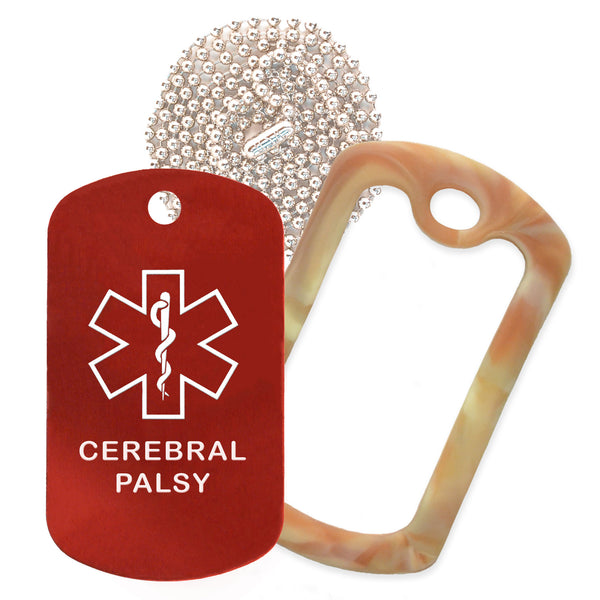 Red Medical ID Cerebral Palsy Necklace with Desert Camo Rubber Silencer and 30'' Ball Chain