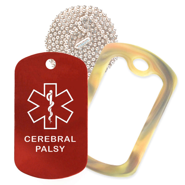 Red Medical ID Cerebral Palsy Necklace with Forest Camo Rubber Silencer and 30'' Ball Chain