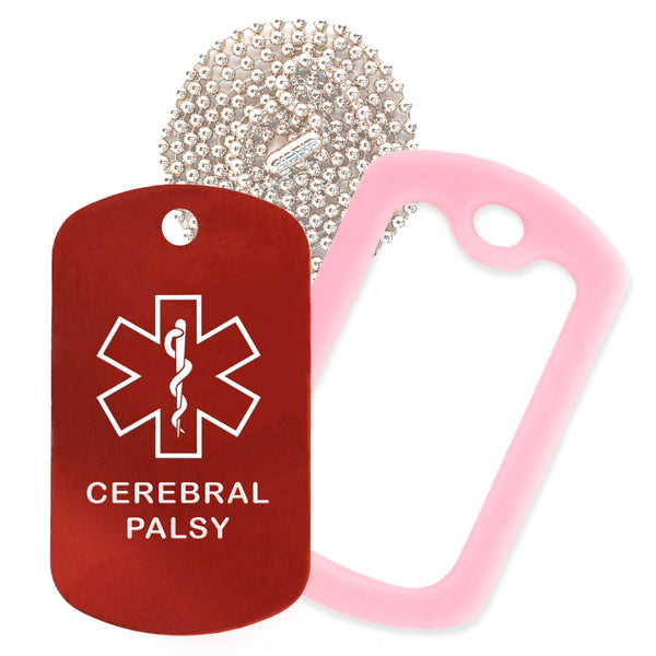 Red Medical ID Cerebral Palsy Necklace with Purple Rubber Silencer and 30'' Ball Chain