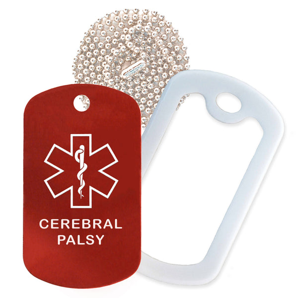 Red Medical ID Cerebral Palsy Necklace with White Rubber Silencer and 30'' Ball Chain