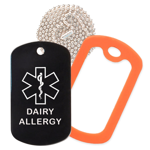 Black Medical ID Dairy Allergy Necklace with Orange Rubber Silencer and 30'' Ball Chain
