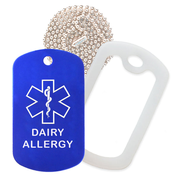 Blue Medical ID Dairy Allergy Necklace with Clear Rubber Silencer and 30'' Ball Chain