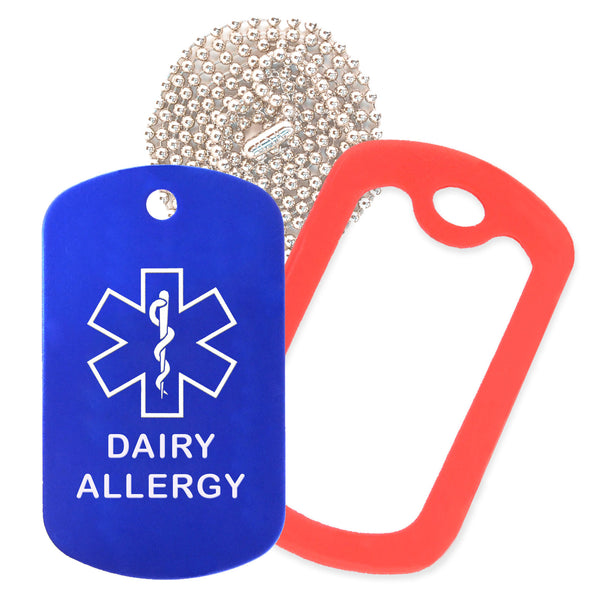 Blue Medical ID Dairy Allergy Necklace with Red Rubber Silencer and 30'' Ball Chain