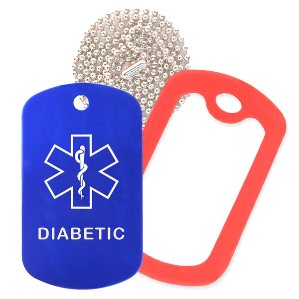 Blue Medical ID Diabetic Necklace with Red Rubber Silencer and 30'' Ball Chain