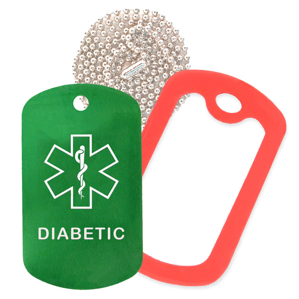 Green Medical ID Diabetic Necklace with Red Rubber Silencer and 30'' Ball Chain