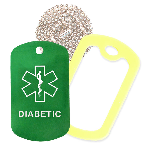 Green Medical ID Diabetic Necklace with Yellow Rubber Silencer and 30'' Ball Chain