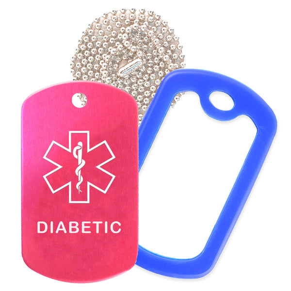 Hot Pink Medical ID Diabetic Necklace with Blue Rubber Silencer and 30'' Ball Chain