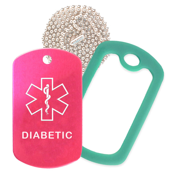 Hot Pink Medical ID Diabetic Necklace with Green Rubber Silencer and 30'' Ball Chain
