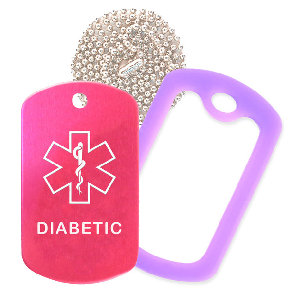 Hot Pink Medical ID Diabetic Necklace with Purple Rubber Silencer and 30'' Ball Chain