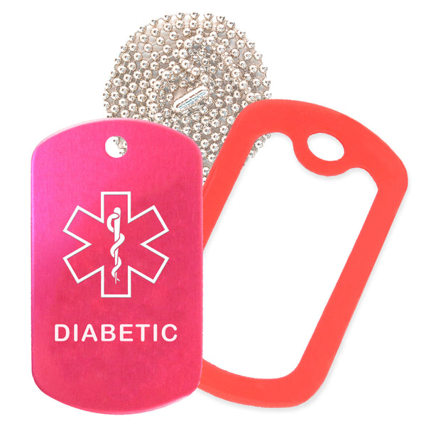 Hot Pink Medical ID Diabetic Necklace with Red Rubber Silencer and 30'' Ball Chain