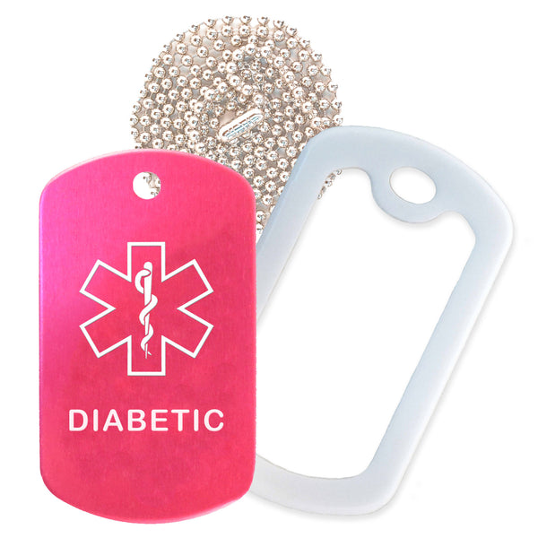 Hot Pink Medical ID Diabetic Necklace with White Rubber Silencer and 30'' Ball Chain