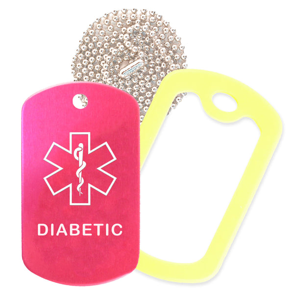 Hot Pink Medical ID Diabetic Necklace with Yellow Rubber Silencer and 30'' Ball Chain